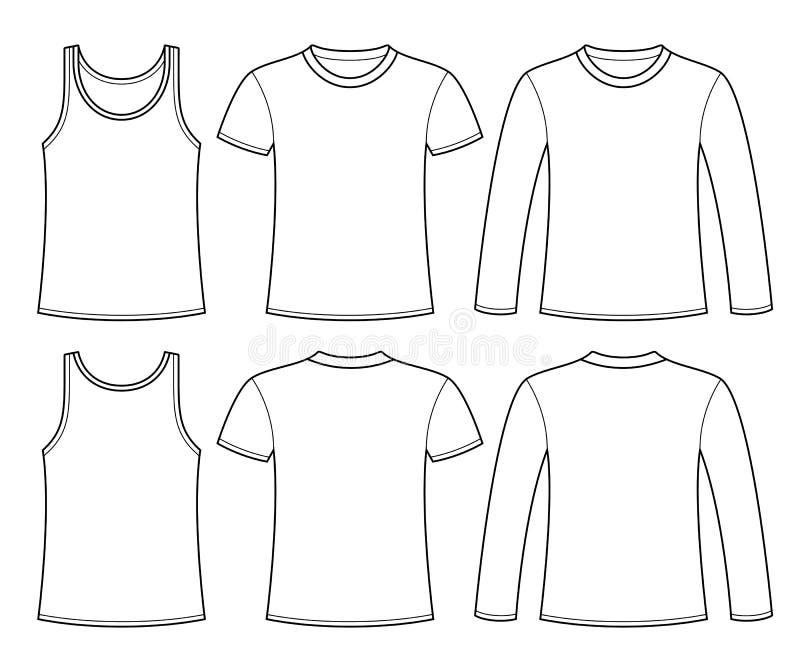 Синглет, футболка и Длинн-sleeved шаблон футболки иллюстрация вектора