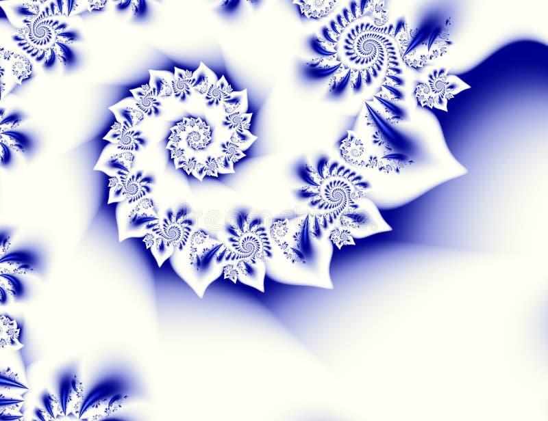 Синее белое искусство фрактали конспекта контраста Сияющая иллюстрация предпосылки с красивые структуры и спирали густолиственных иллюстрация штока