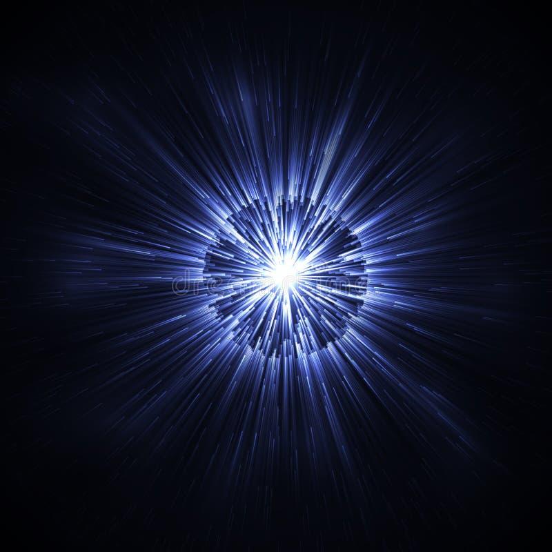 Синее накаляя влияние предпосылки яркого блеска Текстура волшебного зарева сверкная Взрыв звезды искрится световой эффект стоковое изображение