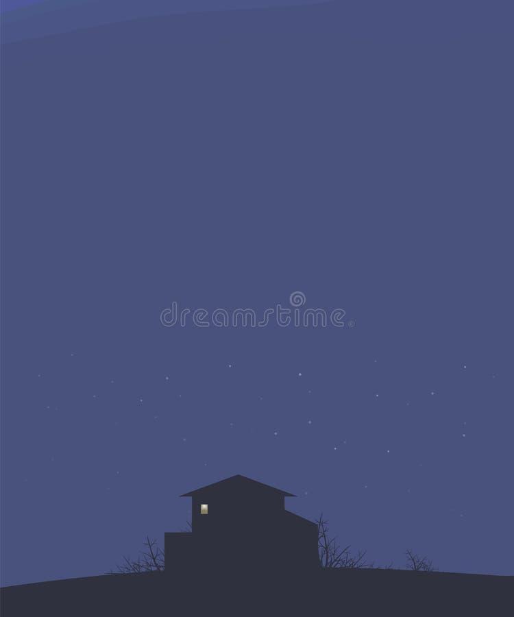 Синее небо ландшафта с домом ночи звезд на плане холма темном bushes ветви и яркий свет к прямоугольному vec окна иллюстрация штока