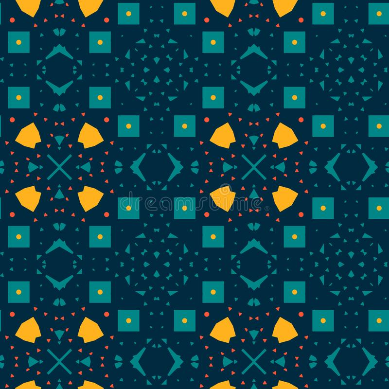 Синеродная желтая морокканская плитка иллюстрация вектора