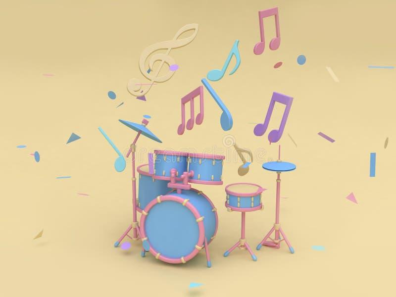 сине-розовый набор барабанчика радио с много примечание музыки, предпосылка 3d ключевого стиля мультфильма sol мягкая желтая мини бесплатная иллюстрация