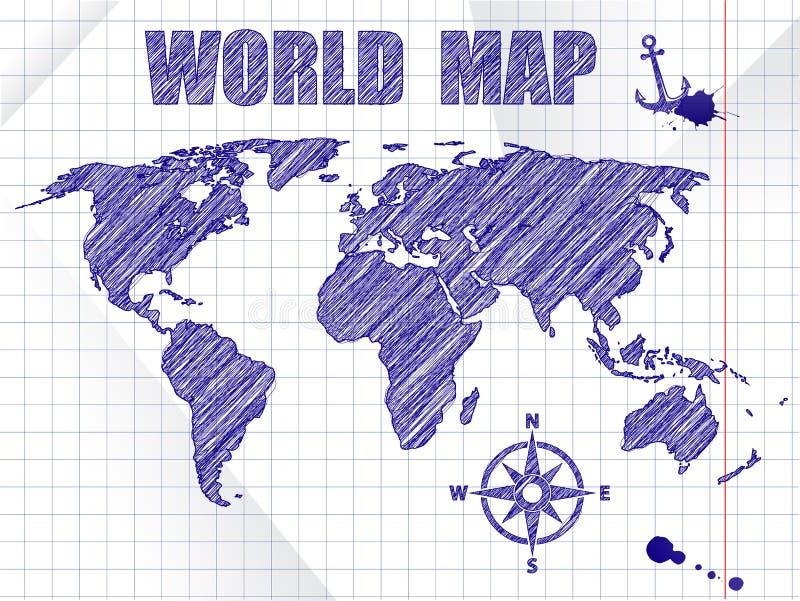 Синие чернила сделали эскиз к карте мира навигации на предпосылке листа тетради школы иллюстрация штока