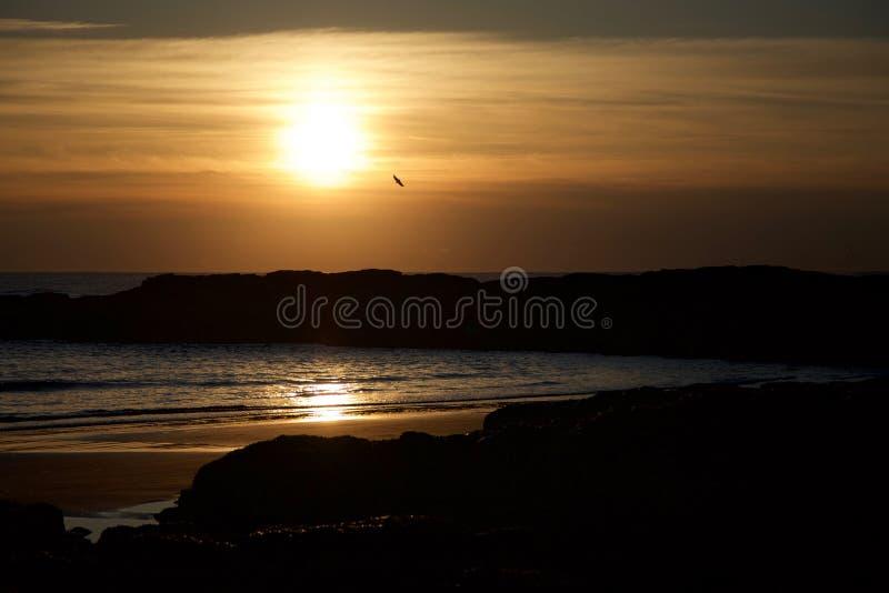 Синий берег на закате стоковая фотография