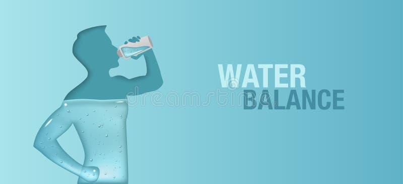 Синий векторный баннер о балансе аквы в человеческом теле Силуэт человека - питьевая вода иллюстрация вектора