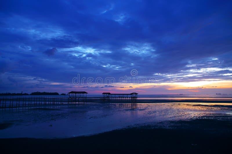 Синий заход солнца стоковое фото rf
