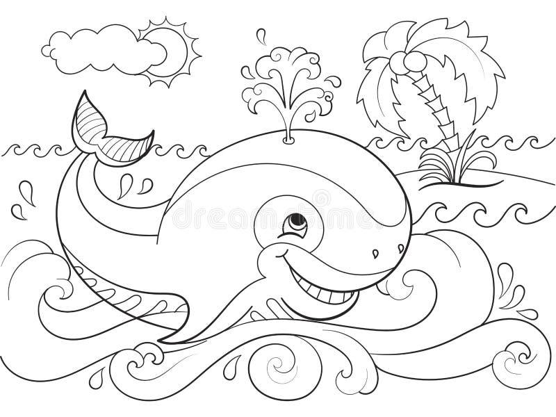 Синий кит на предпосылке расцветки океана для иллюстрации вектора шаржа детей иллюстрация вектора