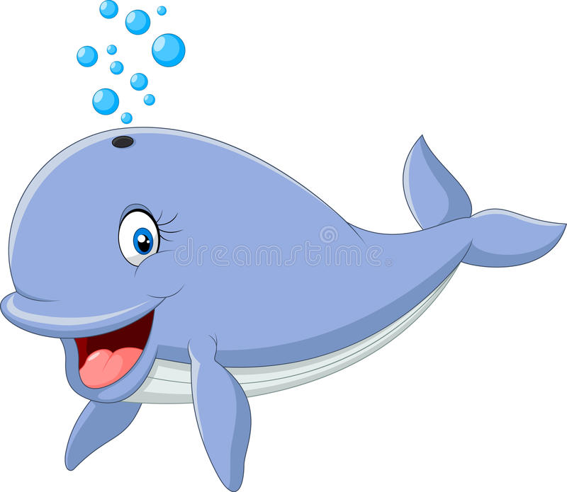 Синий кит шаржа смешной изолированный на белой предпосылке бесплатная иллюстрация