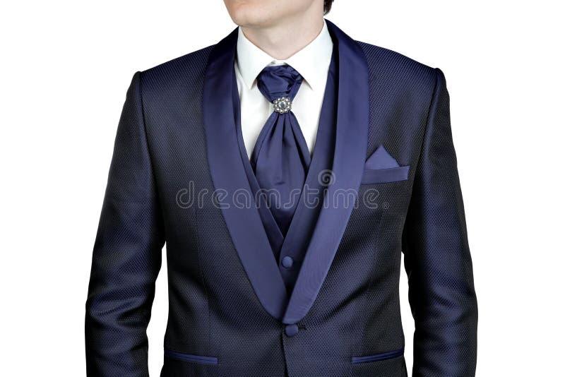 Синий костюм людей, свадьба или вечер, жилет, рубашка, plastr стоковое фото rf