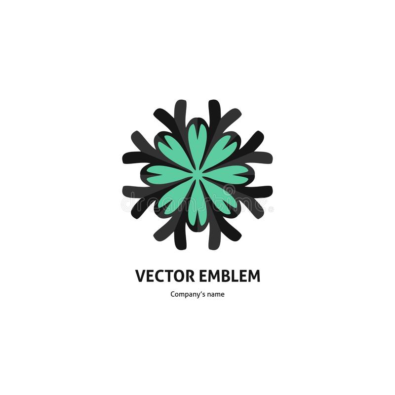 Синий красивый круговой логотип для бутика, цветочного магазина, дела Большой бутон иллюстрация штока