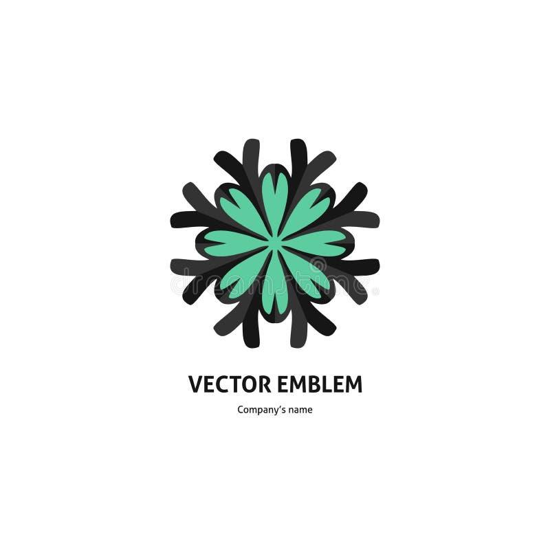 Синий красивый круговой логотип для бутика, цветочного магазина, шины иллюстрация штока