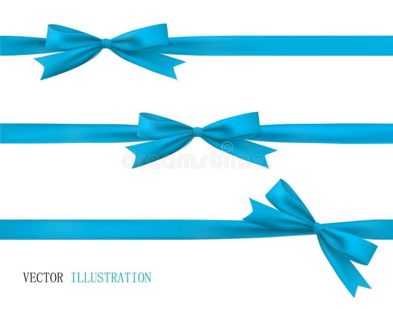 Синий нос с лентой Векторный набор красивых луков иллюстрация штока