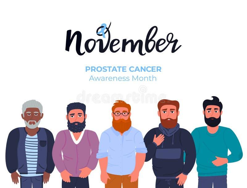 Синий ноябрь Группа бородатых мужчин разных национальностей с усами Месяц информирования о раке простаты Здоровье мужчин иллюстрация штока
