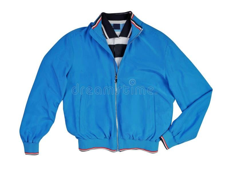 Синий пиджак изолированный на белизне стоковые изображения