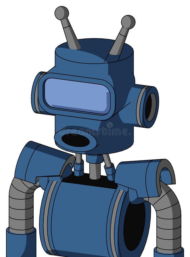 Синий Робот С Головою Цилиндра, Круглым Ртом И Большим Синим Глазом Визора И Двойной Антенной иллюстрация вектора