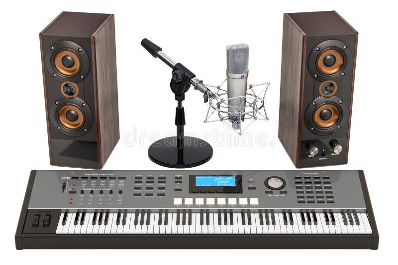 Синтезатор, громкоговорители и микрофон перевод 3d иллюстрация штока