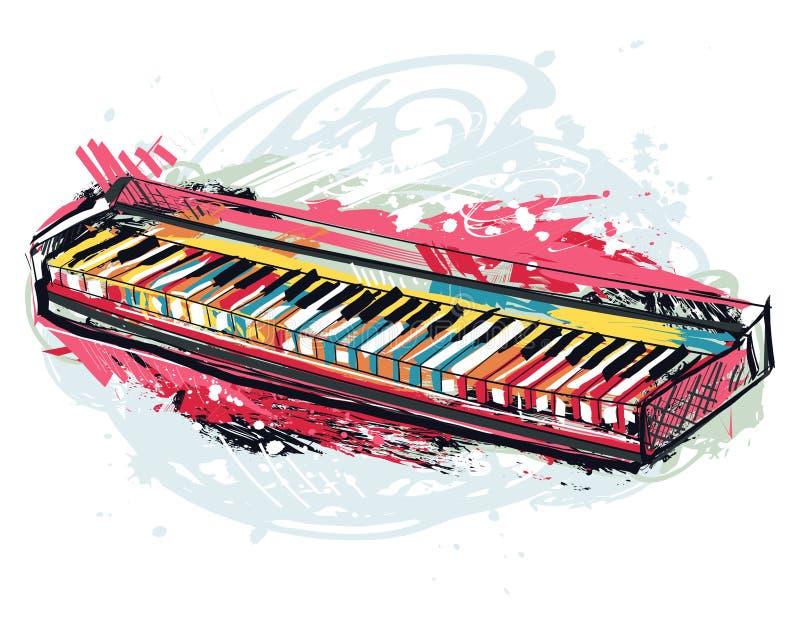 Синтезатор Искусство стиля grunge руки вычерченное для знамени, карты, футболки, татуировки, печати, плаката иллюстрация штока