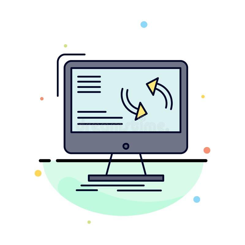 синхронизация, синхронизация, информация, данные, вектор значка цвета компьютера плоский иллюстрация штока