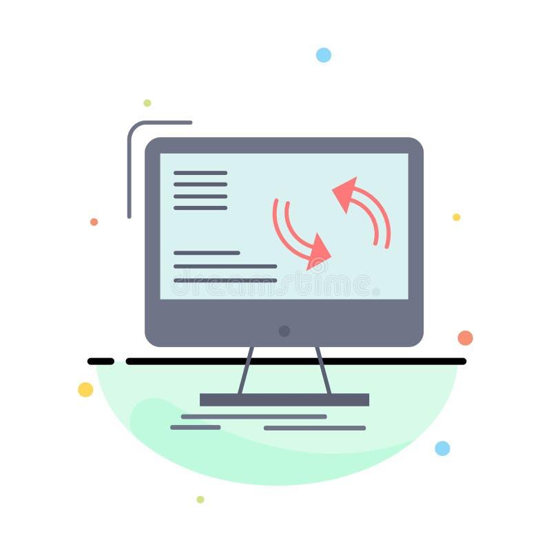 синхронизация, синхронизация, информация, данные, вектор значка цвета компьютера плоский иллюстрация вектора