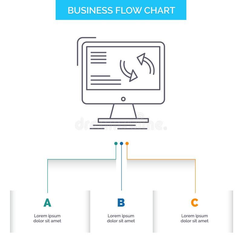 синхронизация, синхронизация, информация, данные, дизайн графика течения компьютерного бизнеса с 3 шагами r бесплатная иллюстрация