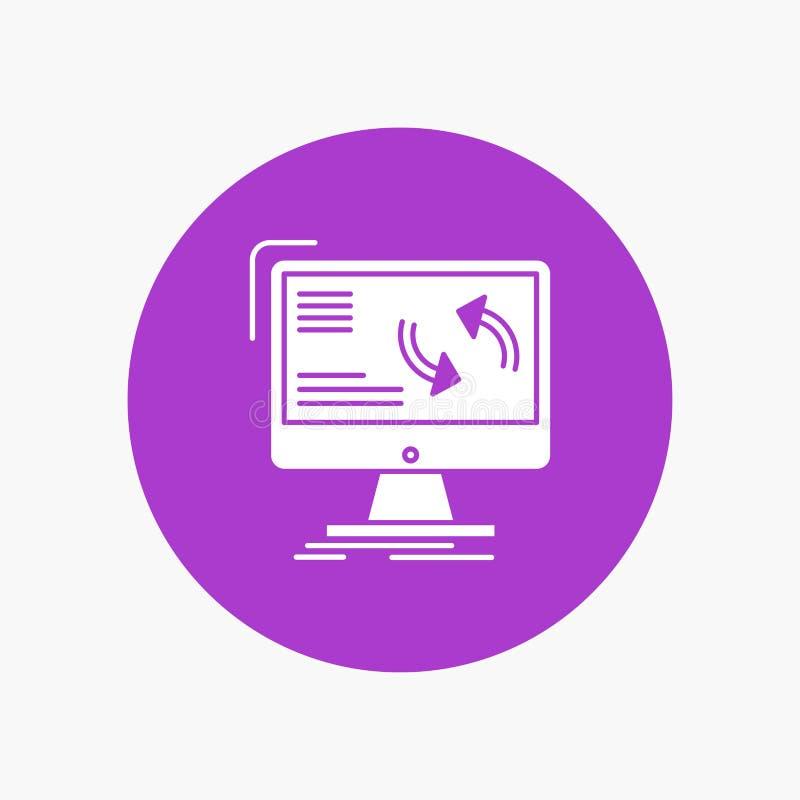 синхронизация, синхронизация, информация, данные, значок глифа компьютера белый в круге r иллюстрация вектора