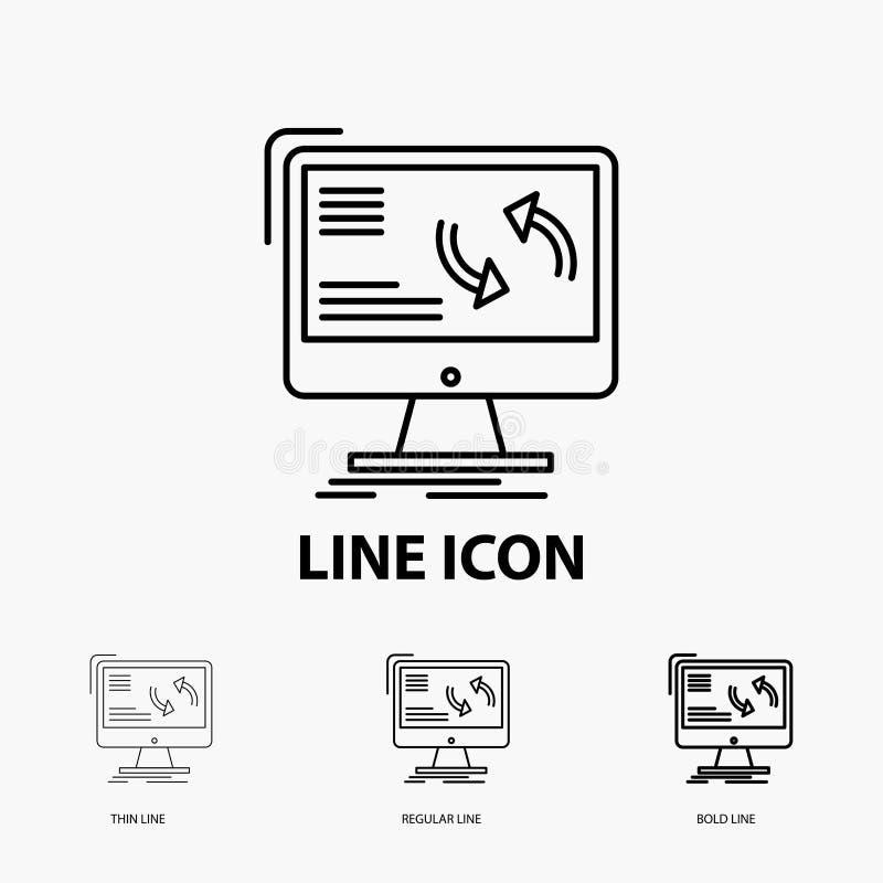 синхронизация, синхронизация, информация, данные, значок компьютера в тонкой, регулярной и смелой линии стиле r бесплатная иллюстрация
