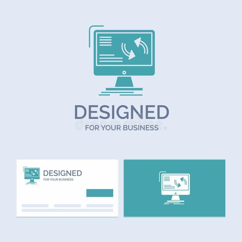 синхронизация, синхронизация, информация, данные, символ значка глифа логотипа компьютерного бизнеса для вашего дела r иллюстрация вектора