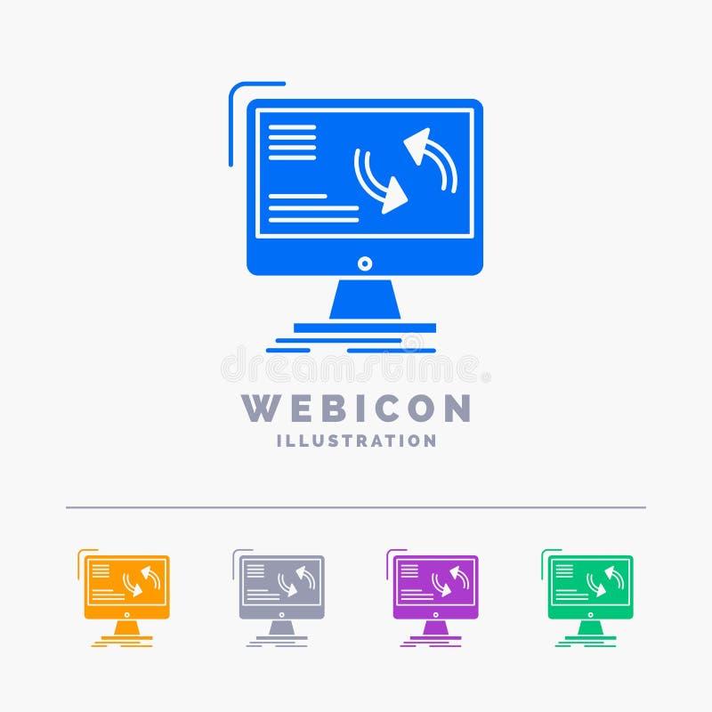 синхронизация, синхронизация, информация, данные, шаблон значка сети глифа цвета компьютера 5 изолированный на белизне r иллюстрация вектора