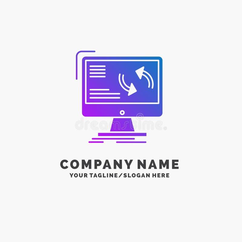 синхронизация, синхронизация, информация, данные, шаблон логотипа дела компьютера пурпурный r бесплатная иллюстрация
