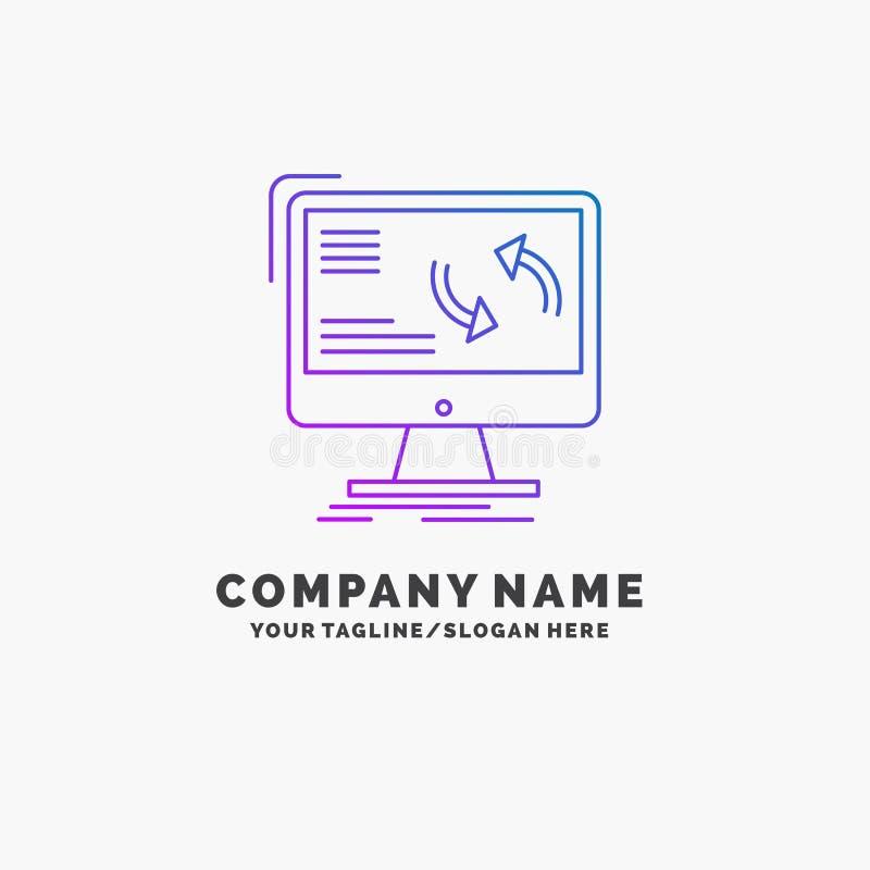 синхронизация, синхронизация, информация, данные, шаблон логотипа дела компьютера пурпурный r иллюстрация штока