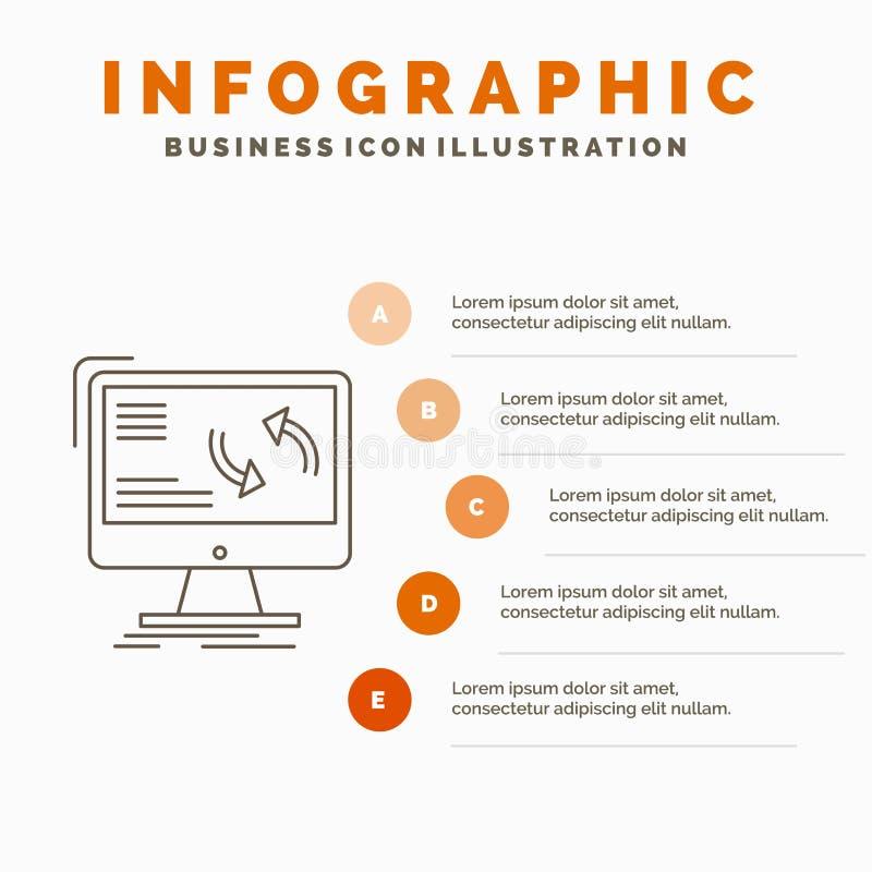 синхронизация, синхронизация, информация, данные, шаблон Infographics компьютера для вебсайта и представление r иллюстрация штока