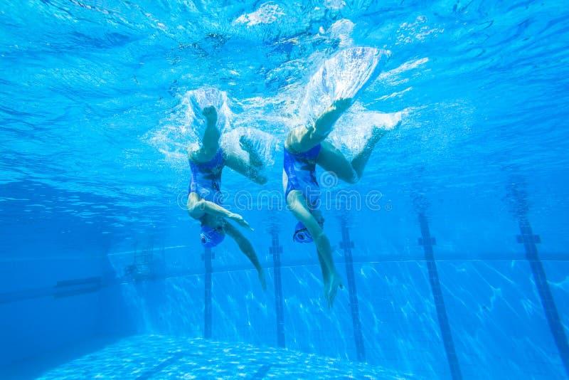 Синхронизированные девушки заплывания команды стоковое изображение rf