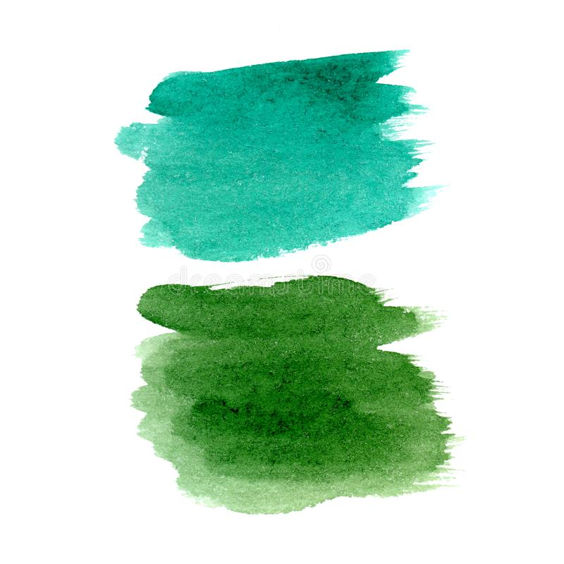 Синь акварели руки вычерченная и зеленый набор пятен щетки иллюстрация вектора