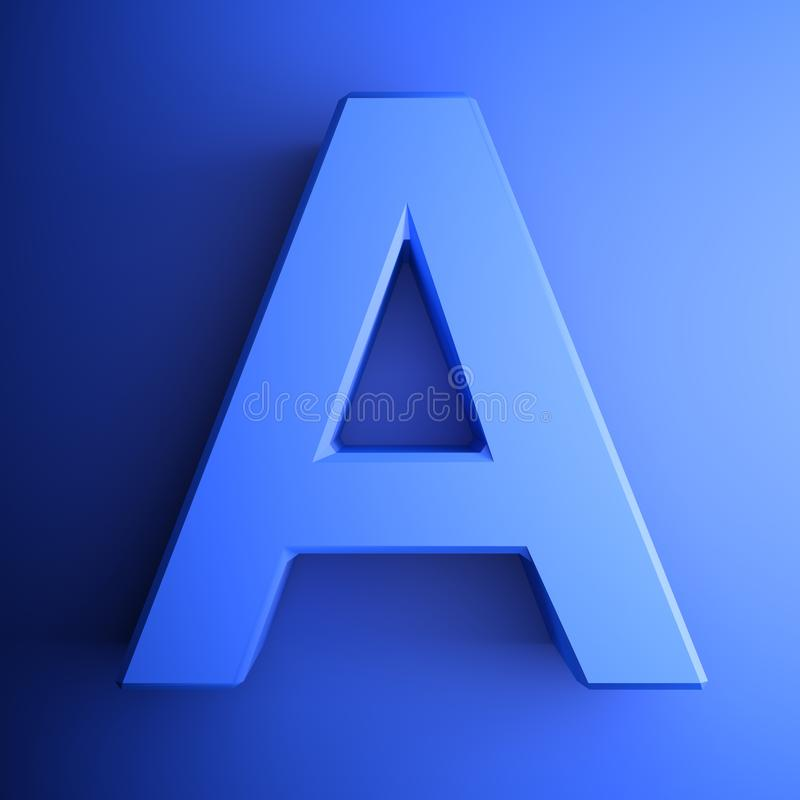 Синь алфавитного письма, изолированная на голубой предпосылке - иллюстрации перевода 3D бесплатная иллюстрация