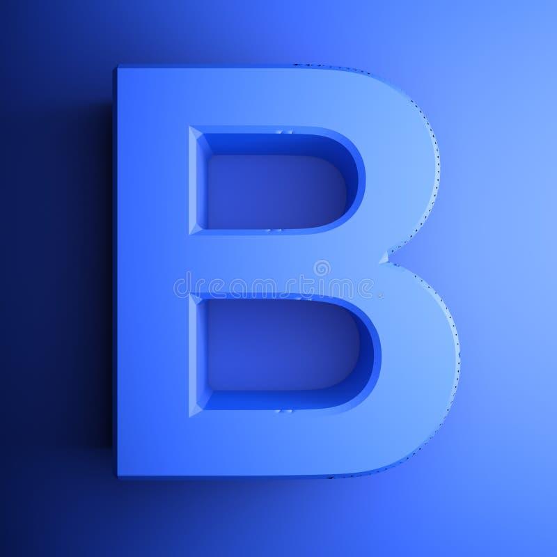 Синь алфавитного письма b, изолированная на голубой предпосылке - иллюстрации перевода 3D иллюстрация штока
