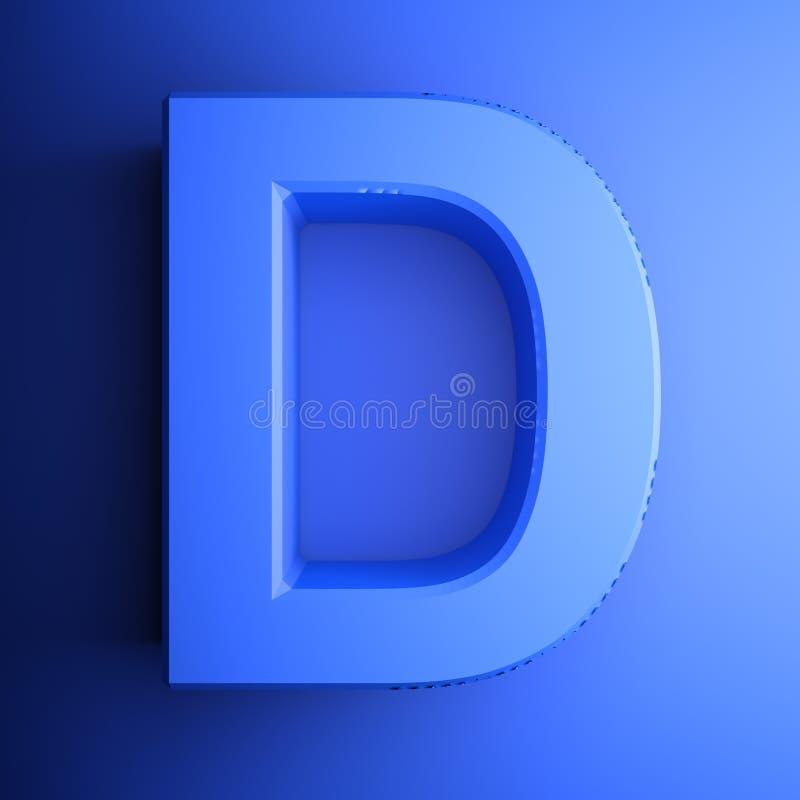 Синь алфавитного письма d, изолированная на голубой предпосылке - иллюстрации перевода 3D иллюстрация вектора