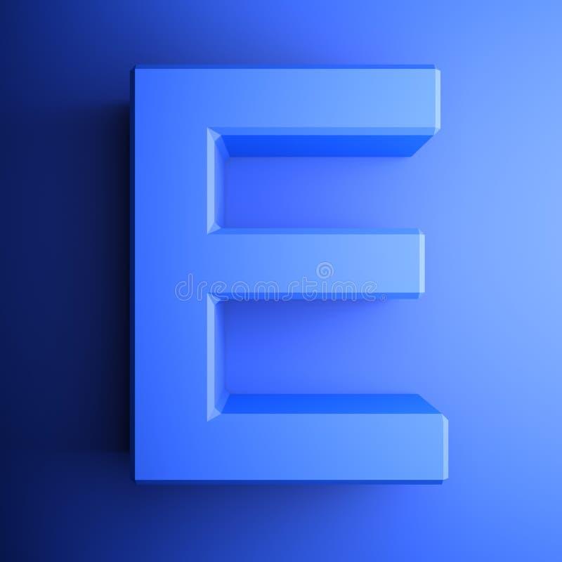 Синь алфавитного письма e, изолированная на голубой предпосылке - иллюстрации перевода 3D бесплатная иллюстрация