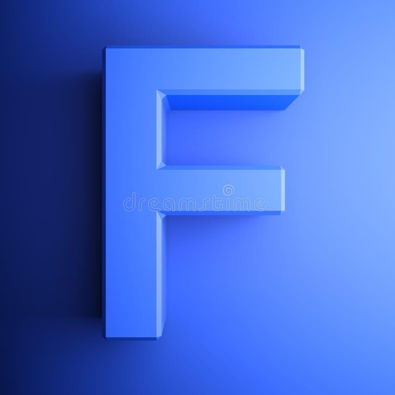 Синь алфавитного письма f, изолированная на голубой предпосылке - иллюстрации перевода 3D бесплатная иллюстрация