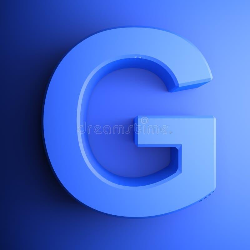 Синь алфавитного письма g, изолированная на голубой предпосылке - иллюстрации перевода 3D иллюстрация штока