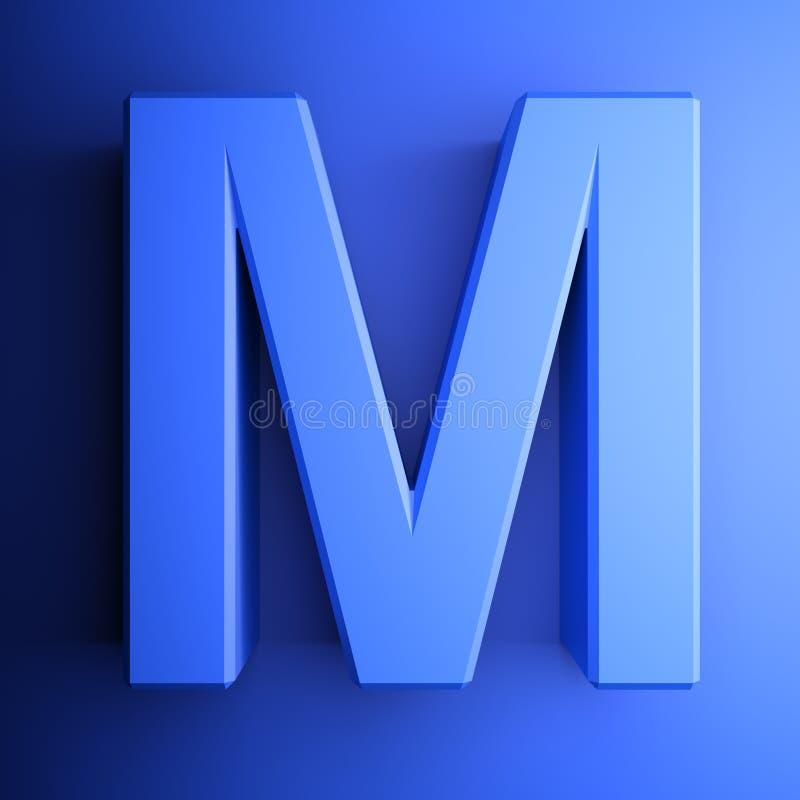 Синь алфавитного письма m, изолированная на голубой предпосылке - иллюстрации перевода 3D иллюстрация штока