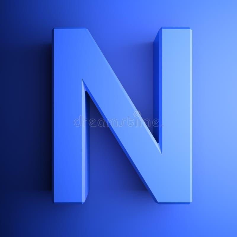 Синь алфавитного письма n, изолированная на голубой предпосылке - иллюстрации перевода 3D иллюстрация вектора