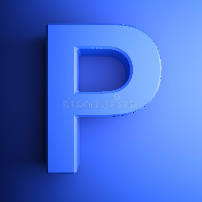 Синь алфавитного письма p, изолированная на голубой предпосылке - иллюстрации перевода 3D иллюстрация вектора