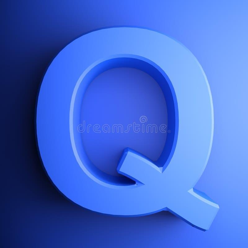 Синь алфавитного письма q, изолированная на голубой предпосылке - иллюстрации перевода 3D иллюстрация вектора