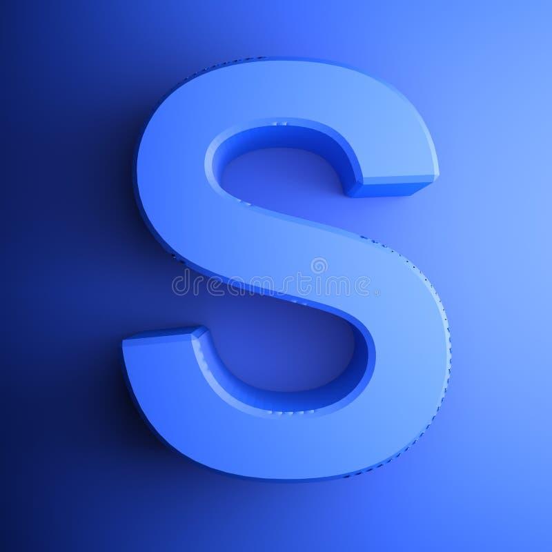Синь алфавитного письма s, изолированная на голубой предпосылке - иллюстрации перевода 3D иллюстрация штока