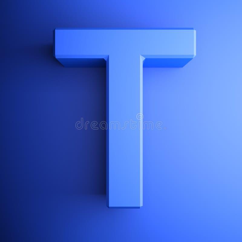 Синь алфавитного письма t, изолированная на голубой предпосылке - иллюстрации перевода 3D бесплатная иллюстрация