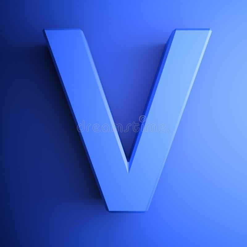 Синь алфавитного письма v, изолированная на голубой предпосылке - иллюстрации перевода 3D бесплатная иллюстрация