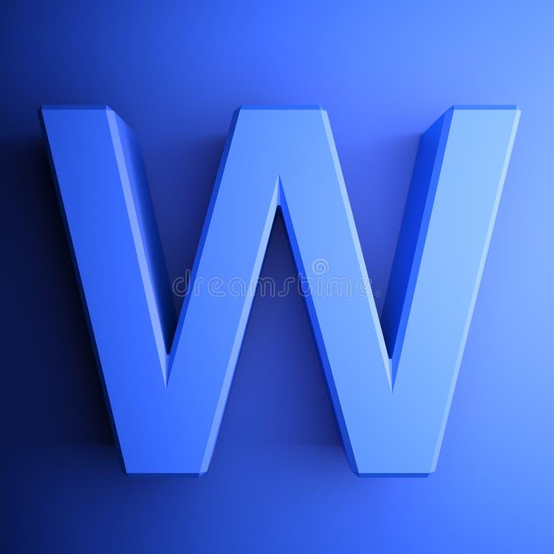 Синь алфавитного письма w, изолированная на голубой предпосылке - иллюстрации перевода 3D бесплатная иллюстрация