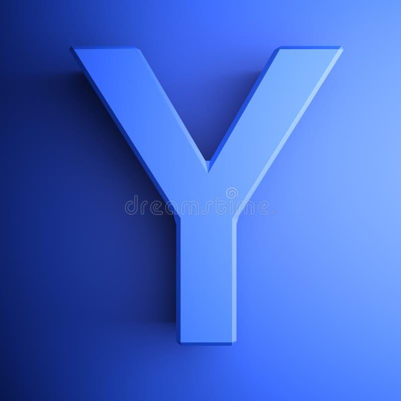 Синь алфавитного письма y, изолированная на голубой предпосылке - иллюстрации перевода 3D бесплатная иллюстрация