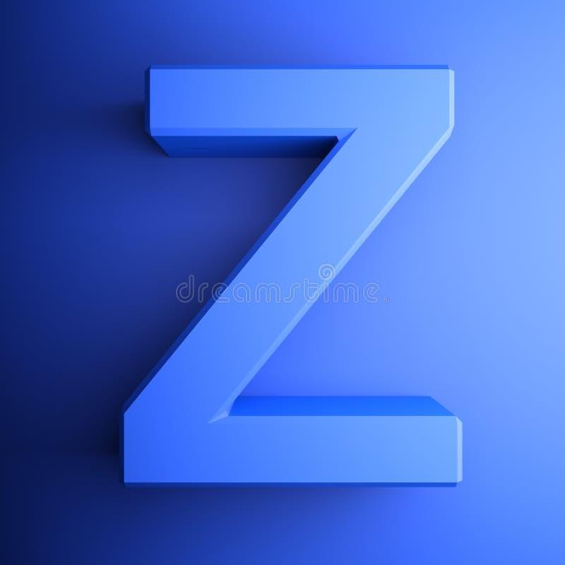 Синь алфавитного письма z, изолированная на голубой предпосылке - иллюстрации перевода 3D бесплатная иллюстрация