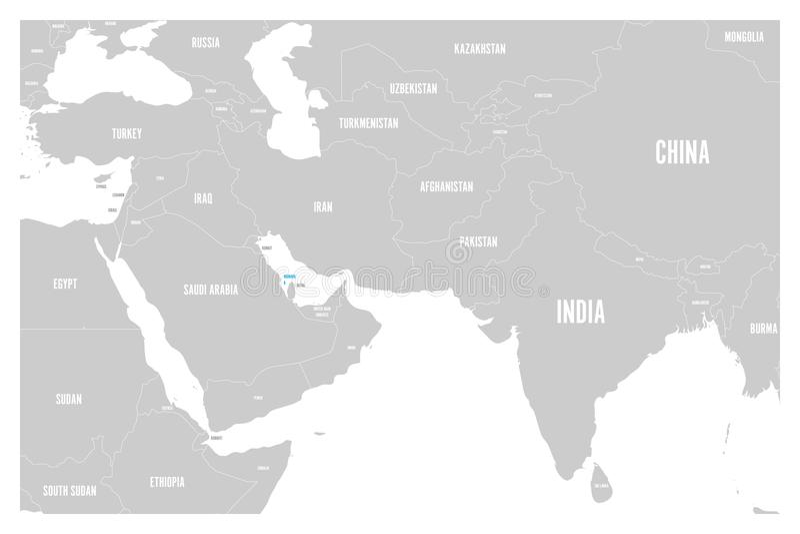 Синь Бахрейна отмеченная в политической карте вектора Южной Азии и Ближний Востока простого плоского составляет карту иллюстрация штока